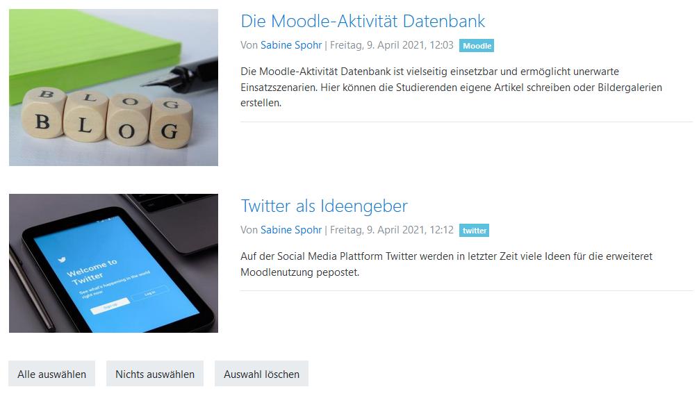 Moodle-Datenbank zum Artikel schreiben einsetzen